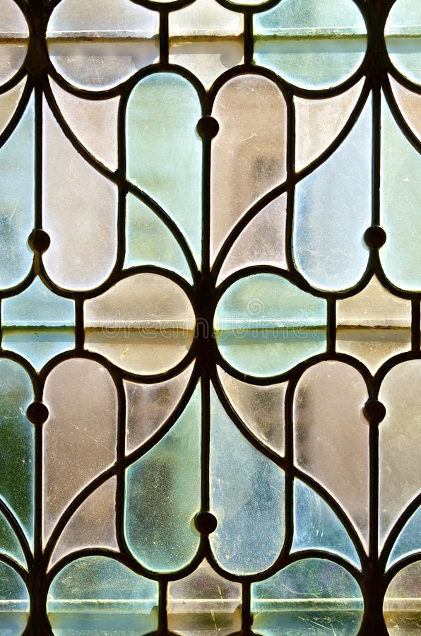 Glass. Closeup of a colored glass in the castle of Chaumont Sur Loire, Loire Valley, France stock photos
