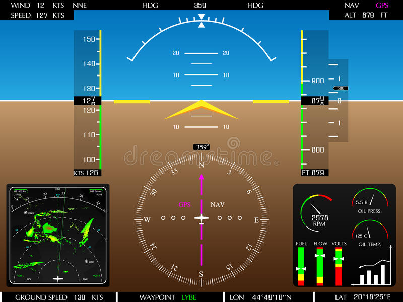 Glass cockpit display. Airplane glass cockpit display with weather radar and engine gauges stock illustration