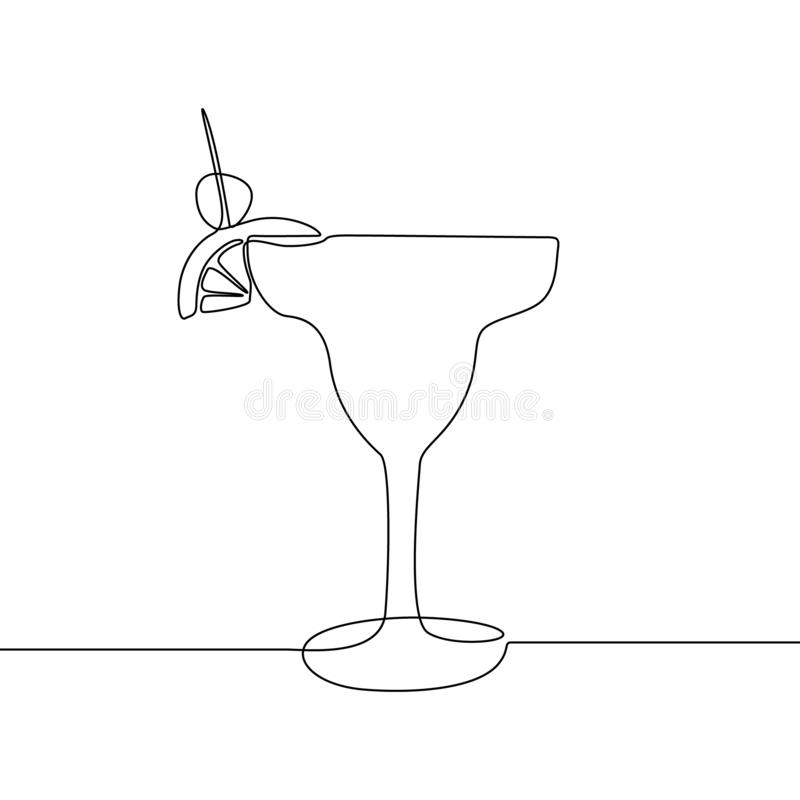 Glass with cocktail continuous one line vector illustration. royalty free illustration