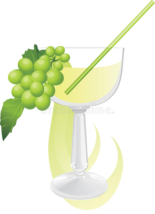 Download Glass With Cocktail And Green Grape Stock Vector - Image: 21741562