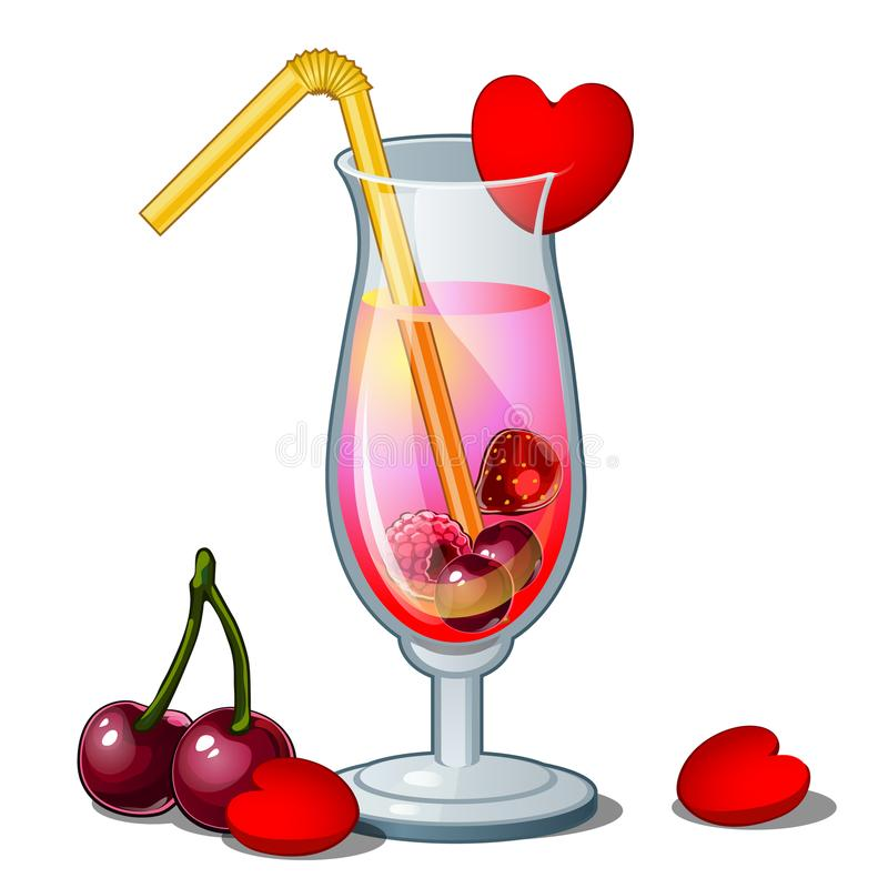 Glass of cocktail with straw, hearts and cherry. Romance pink drink, decorated with berries. Vector isolated on white. Glass of cocktail with straw, hearts and royalty free illustration