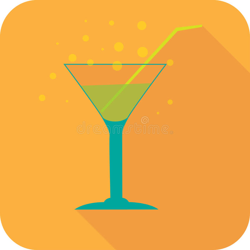 Glass cocktails flat design stylized party drink icon. The best for your design, flyers, coasters, prints stock illustration