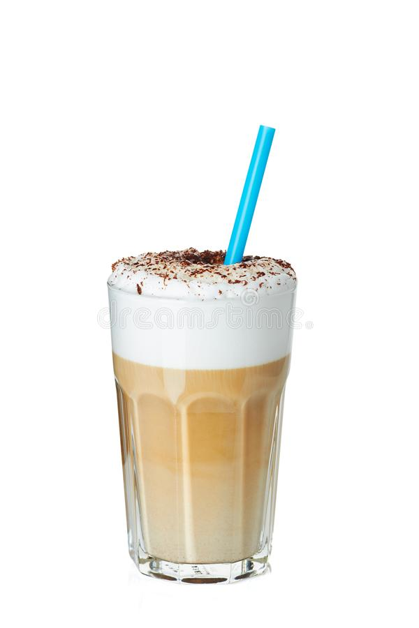 Glass of coffee latte with drinking straw on white stock photos