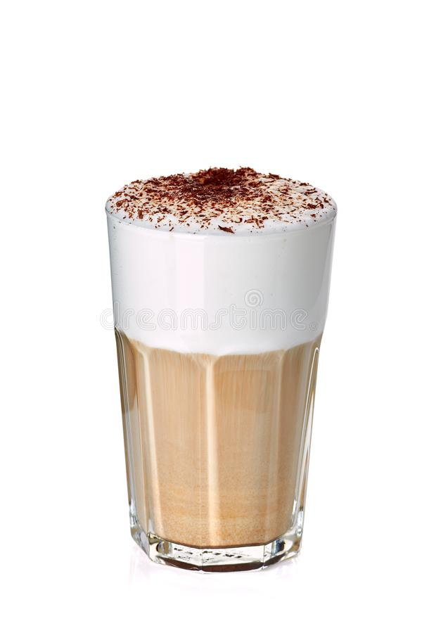 Glass of coffee latte on white royalty free stock photography