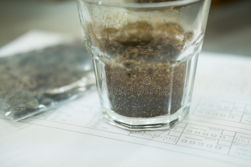 Glass of coffee for taster to smell and taste aromatic and flavor wheel. aroma perception in brewed coffee. cupping examination. Glass of coffee for taster to stock photo