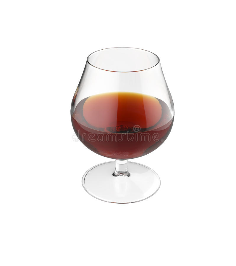 Glass of cognac isolated. 3d royalty free stock images