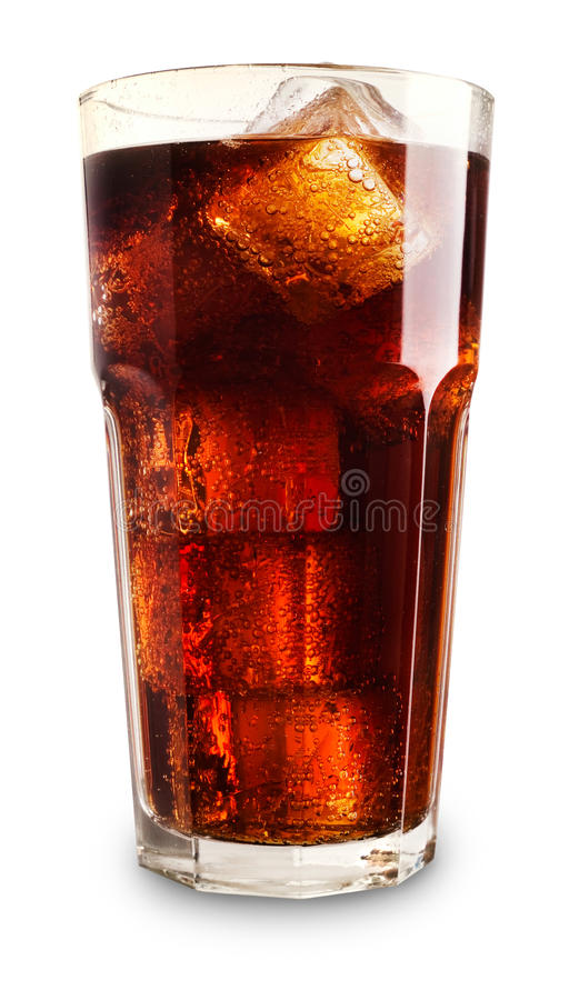 Glass of cola. With ice stock images