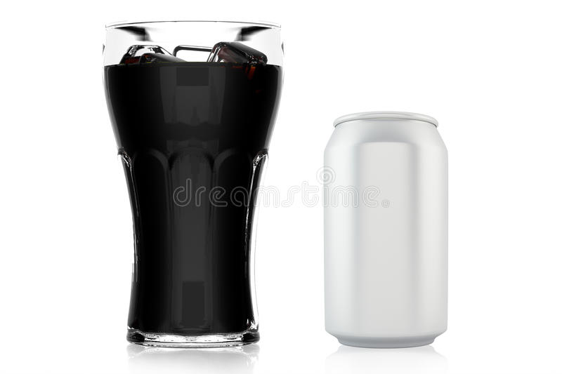 Glass of cola with ice and can royalty free stock image