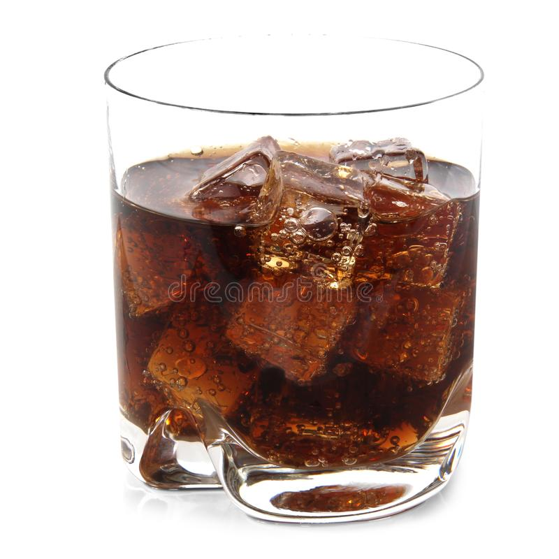 Glass with cola and ice cubes royalty free stock photography