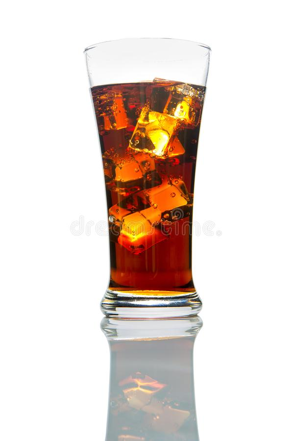 A glass of cola with ice isolated on white background royalty free stock images