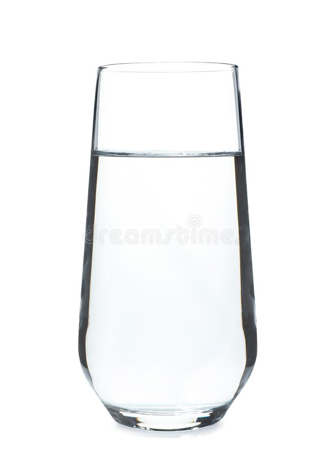 Glass of cold clear water on white background. Refreshing drink stock images
