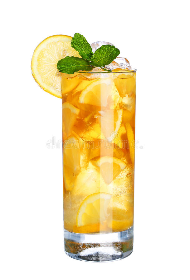 Glass Of Cold ice lemon tea Drink with mint isolated on white. Background royalty free stock photo