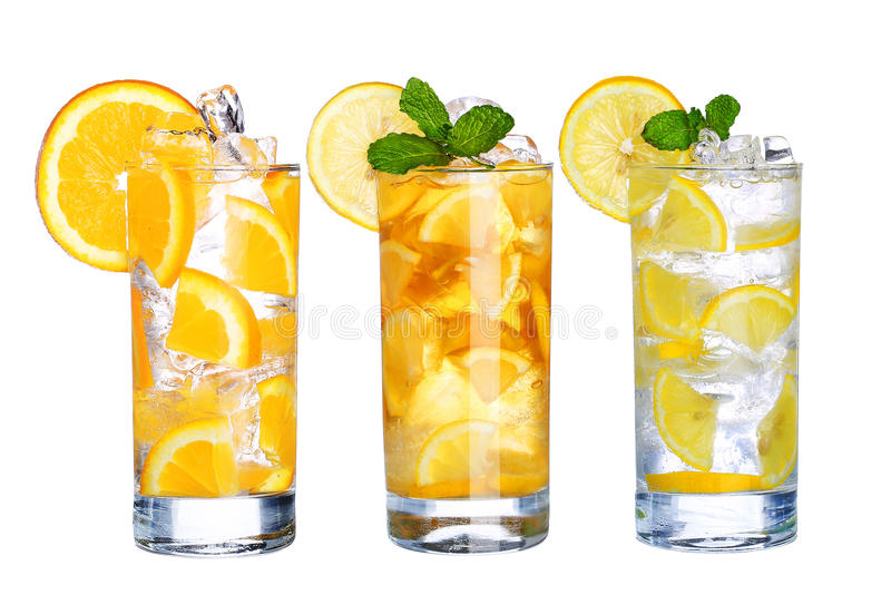 Glass Of Cold ice tea and lemonade Drink collection isolated. On white background royalty free stock photo