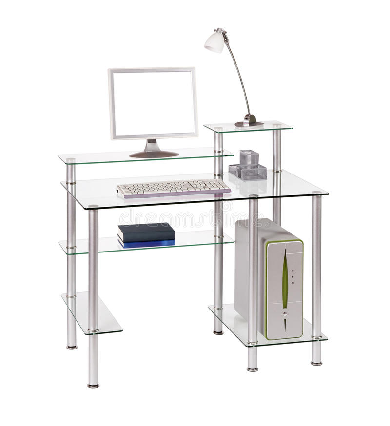 Download Glass computer desk stock photo. Image of silver, design - 18594408