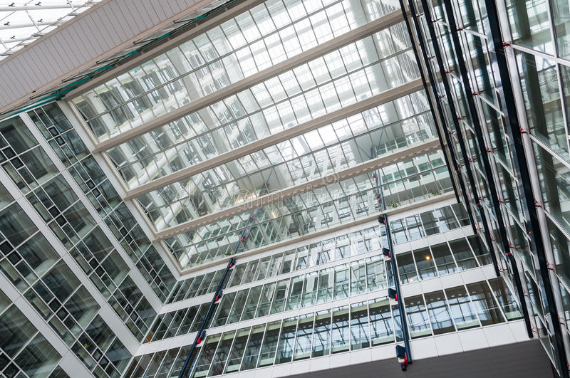 Glass construction of skyscraper. View from inside royalty free stock photos