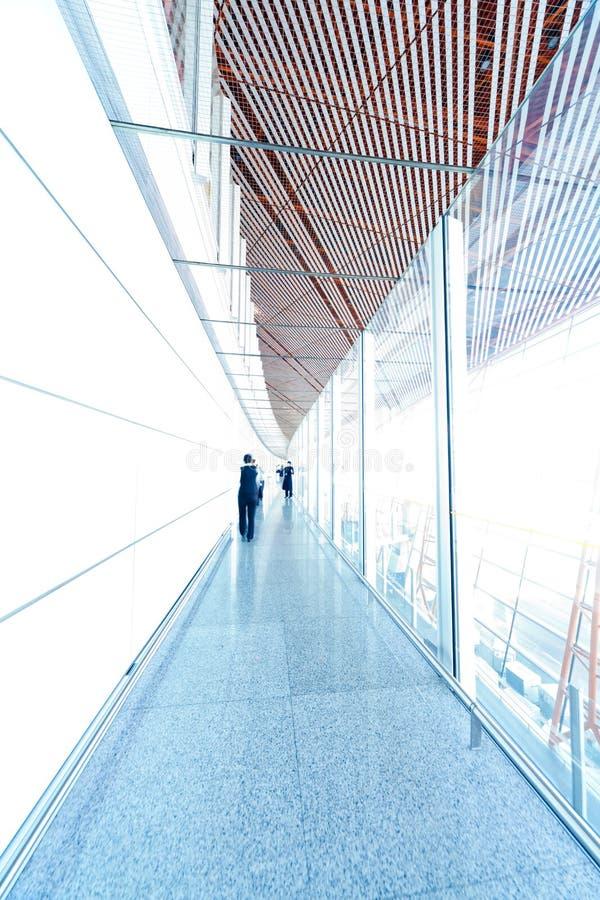Glass corridor interior stock images
