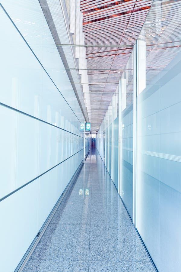 Glass corridor interior stock photography
