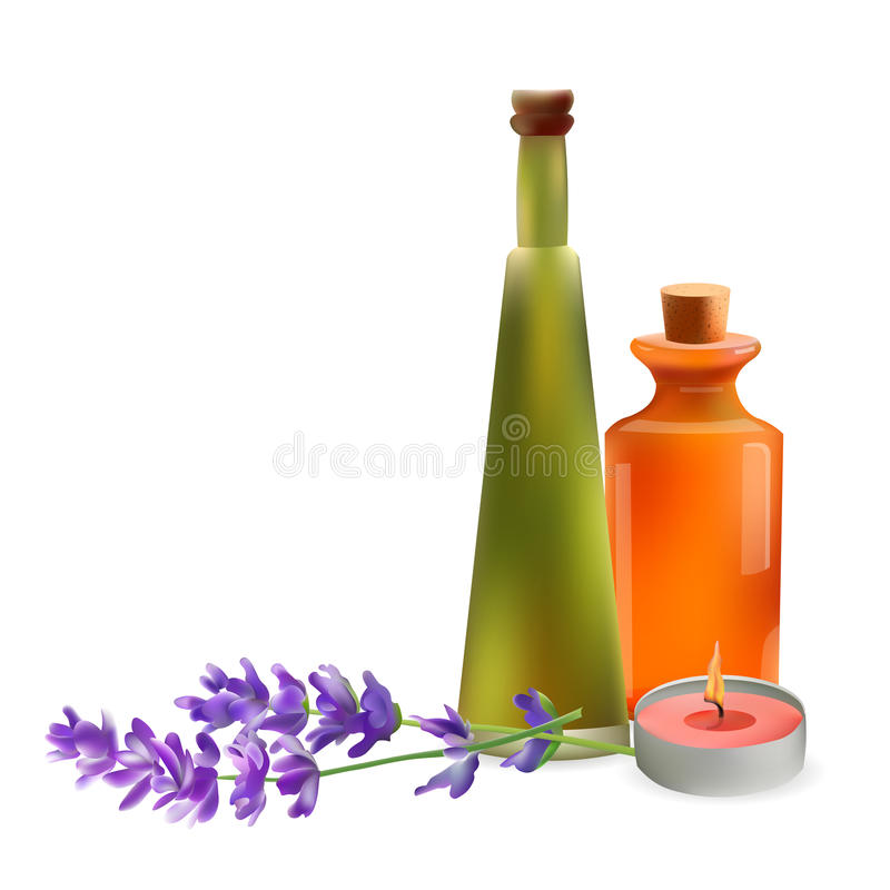 Glass Cosmetic Bottles and Candle with Lavender Branch. Vector Isolated Illustration. Template Elements for Cosmetic Shop, Spa Sa. Lon, Beauty Products Package royalty free illustration