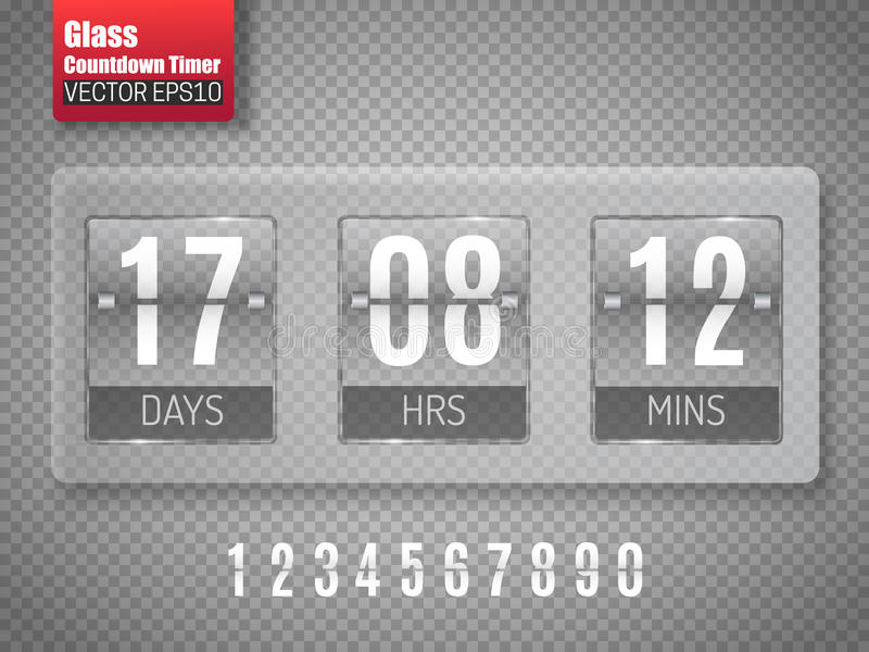 Glass Countdown timer isolated on transparent background. Clock counter. Vector vector illustration