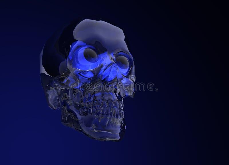 Glass Crystal Human Skull. Blue Glass Crystal Human Skull on Black stock illustration