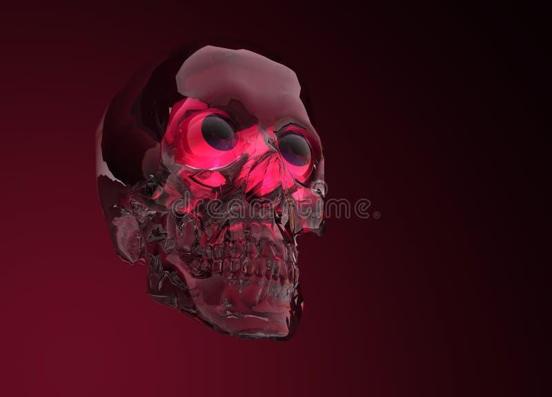 Glass Crystal Human Skull. On Red stock illustration