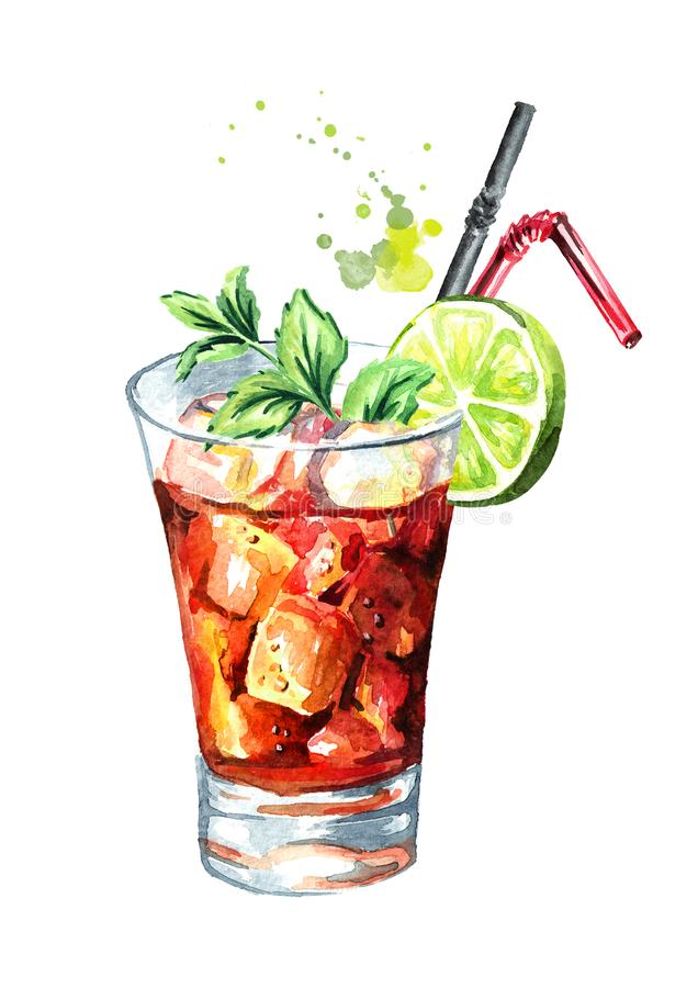 Glass of Cuba Libre cocktail with lime and mint. Watercolor hand drawn illustration, isolated on white background vector illustration