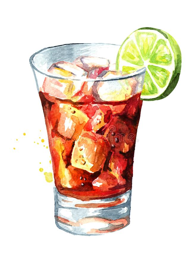 Glass of Cuba Libre Drink with lime. Watercolor hand drawn illustration, isolated on white background vector illustration