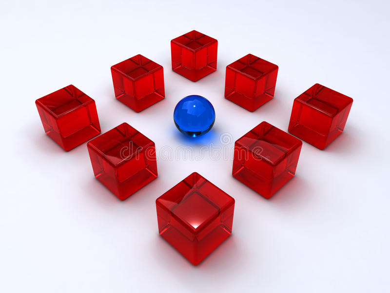 Glass cubes and sphere stock illustration