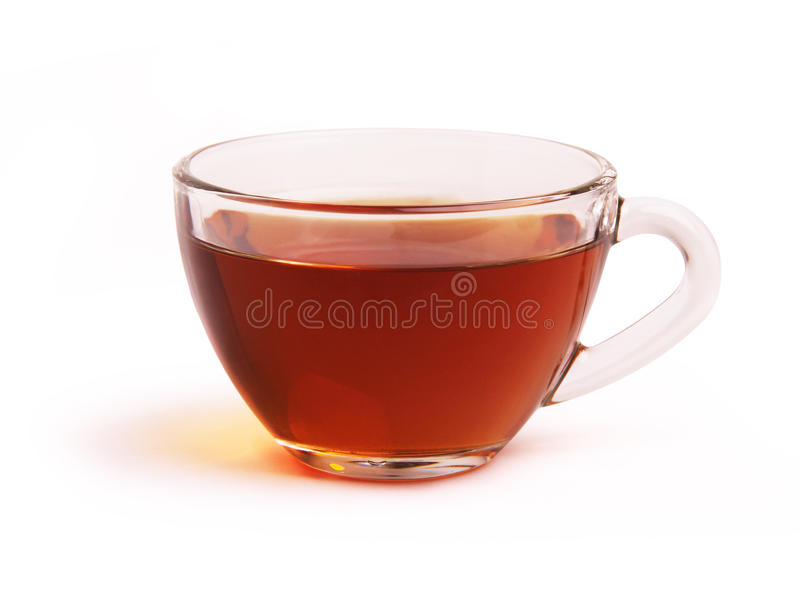Glass cup of black tea. On a white background stock photography