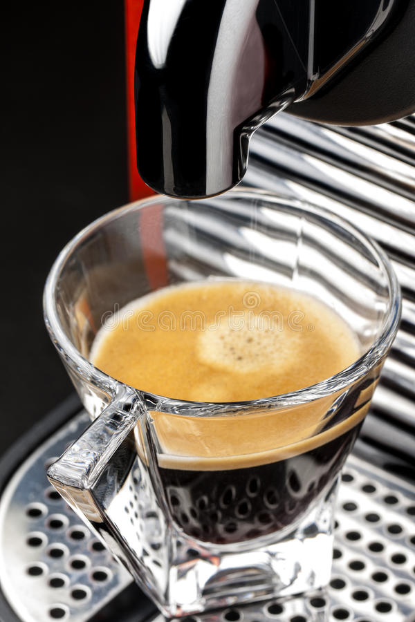 Glass Cup Coffee Espresso Machine Maker stock photos