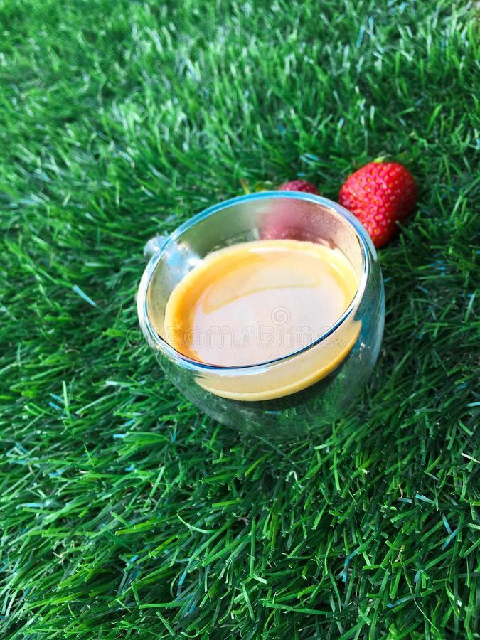 Glass cup with coffee on the grass with two strawberries. Glass cup with coffee on the green grass with two strawberries stock images
