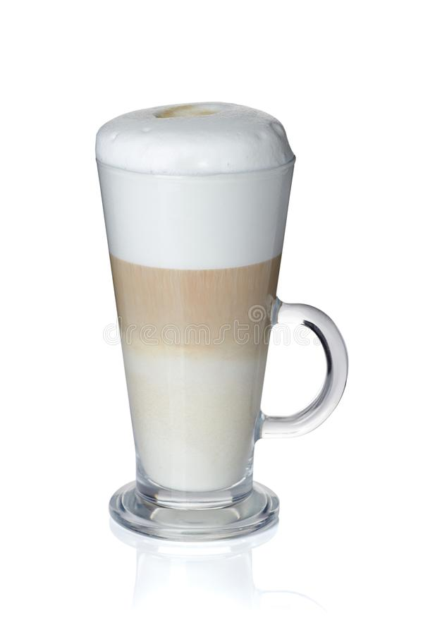 Glass cup of coffee latte on white royalty free stock images