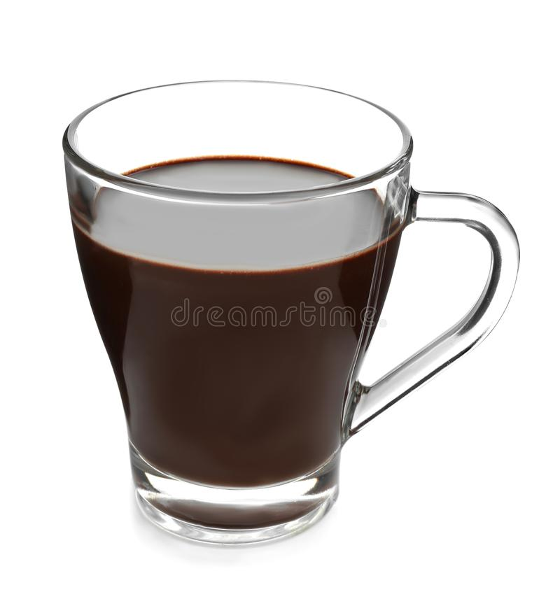 Glass cup of hot chocolate on white background stock images