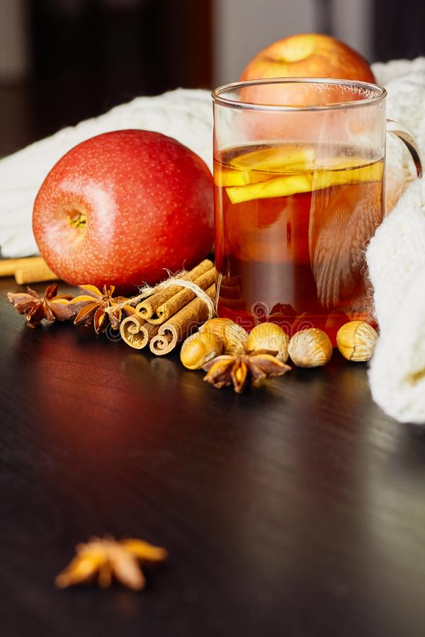 Glass cup of hot spicy drink with apple and orange slices, cinnamon and anise on dark wooden background stock images