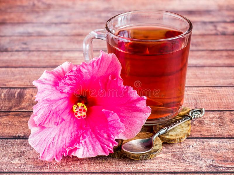 Glass Cup with red tea pink hibiscus flower on dark wood background.  stock images