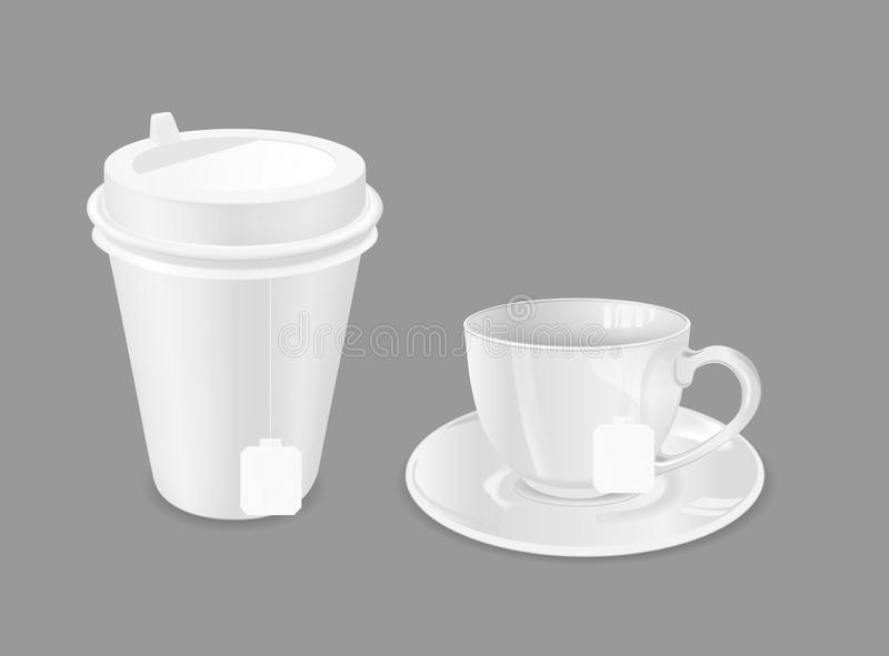 Glass cup with saucer and paper coffee cup. Tea bag royalty free illustration