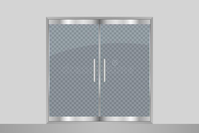 Glass dörr och vägg Isolerat på genomskinlig bakgrund Shoppar lagrar dubbla dörrar för tillträdeet för gallerian, kontor, boutiqu vektor illustrationer