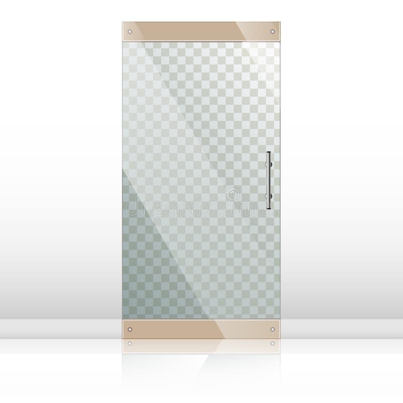 Glass dörrar med uppsättningen för kromsilverhandtag stock illustrationer