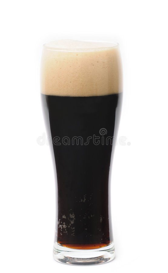 Glass of dark beer isolated royalty free stock photo