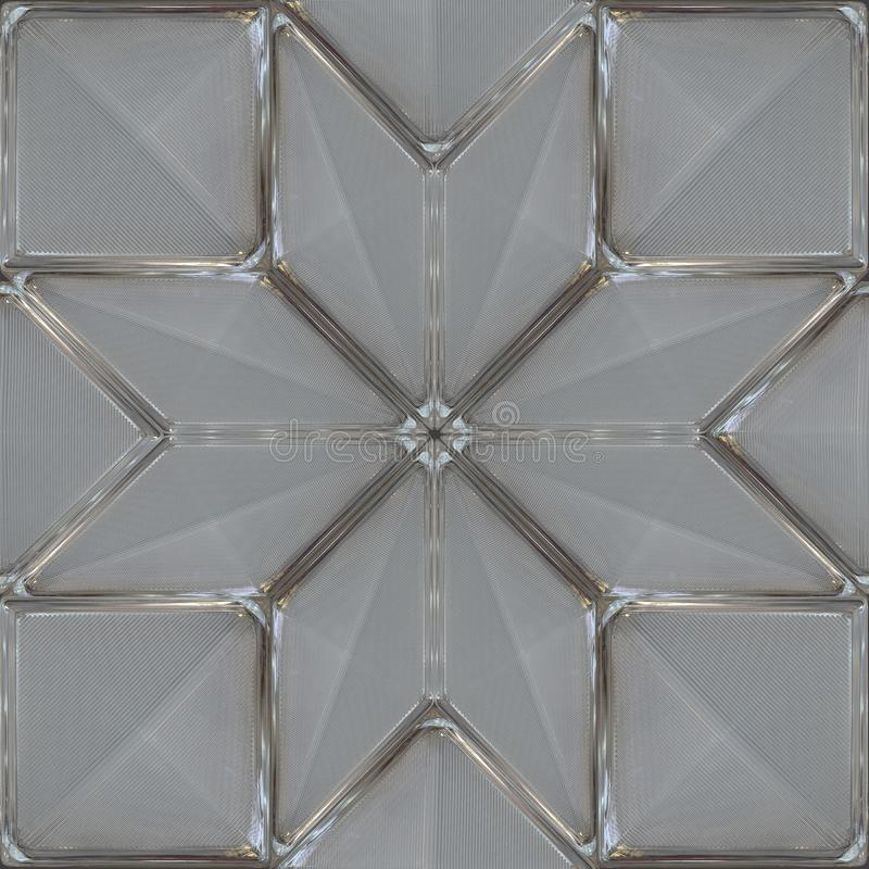 Glass decor tile with grooved surface. Geometric pattern. Rhombs and squares. royalty free stock photography