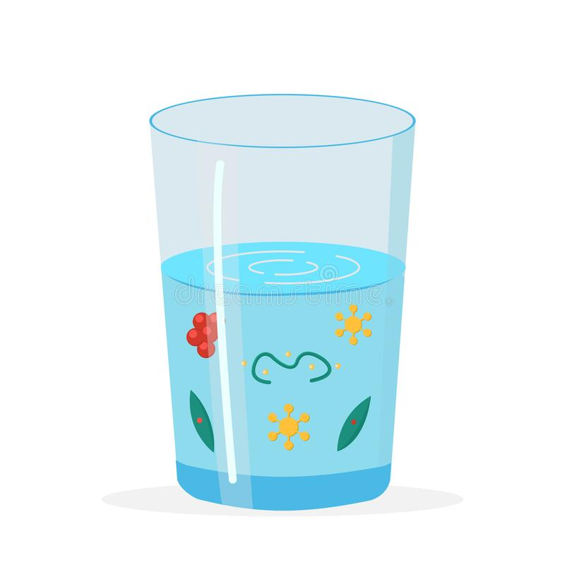 Glass with Dirty, Polluted Water Illustration. Polluted Liquid. Microscopic Bacterium Vector Clipart. Microorganisms, Microbes. Viruses, Bacilles Isolated royalty free illustration