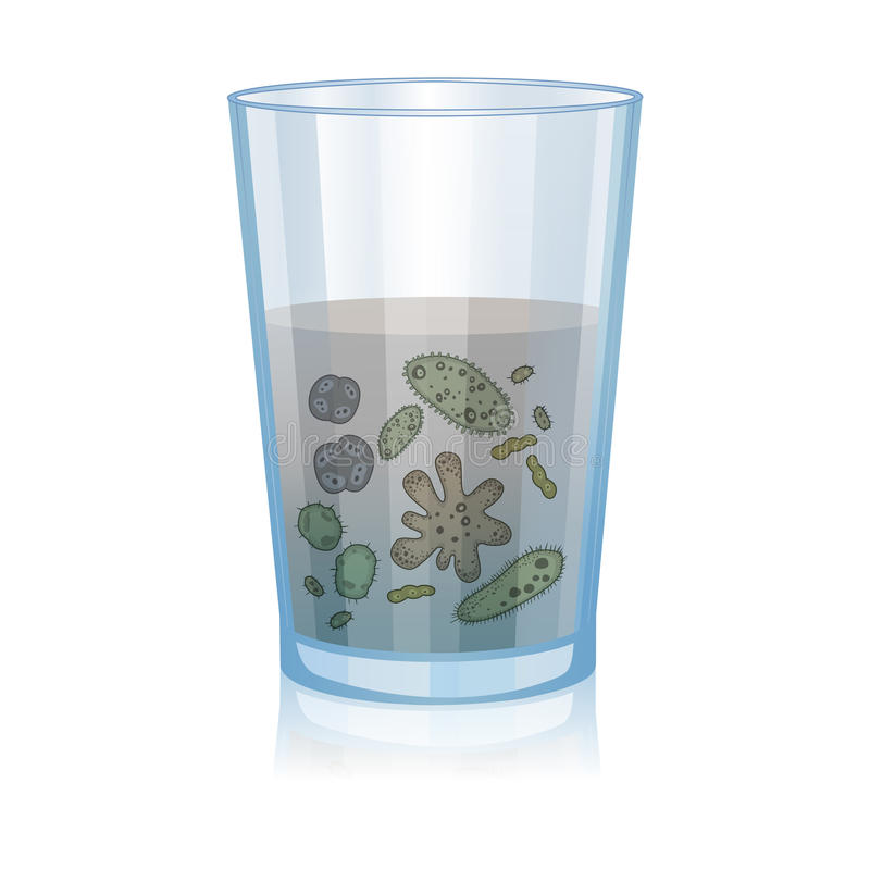 Glass with dirty water, bacteria, science microbiology vector illustration