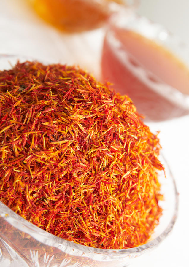 Glass dish with saffron royalty free stock photography