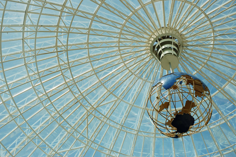 Glass dome. Of a shopping center stock photos