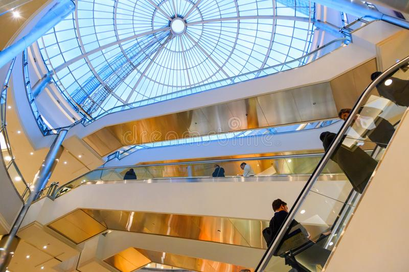 Glass dome in Canary Wharf shopping centre royalty free stock photography