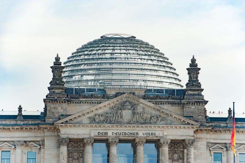 Glass Dome of German Parliament Bundestag in Berlin, Germany stock image
