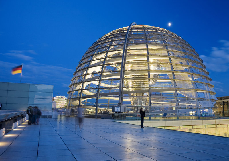 Glass Dome on the Roof of the Reichstag in Berlin royalty free stock photography