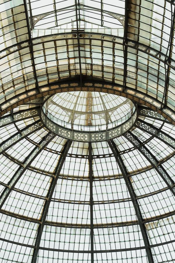 Glass dome of shopping gallery. Milan, Italy. Details stock photography