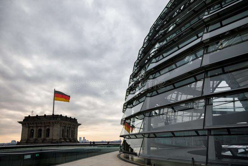 Glass dome on the top of Reichstag building Central Berlin Germany stock photos