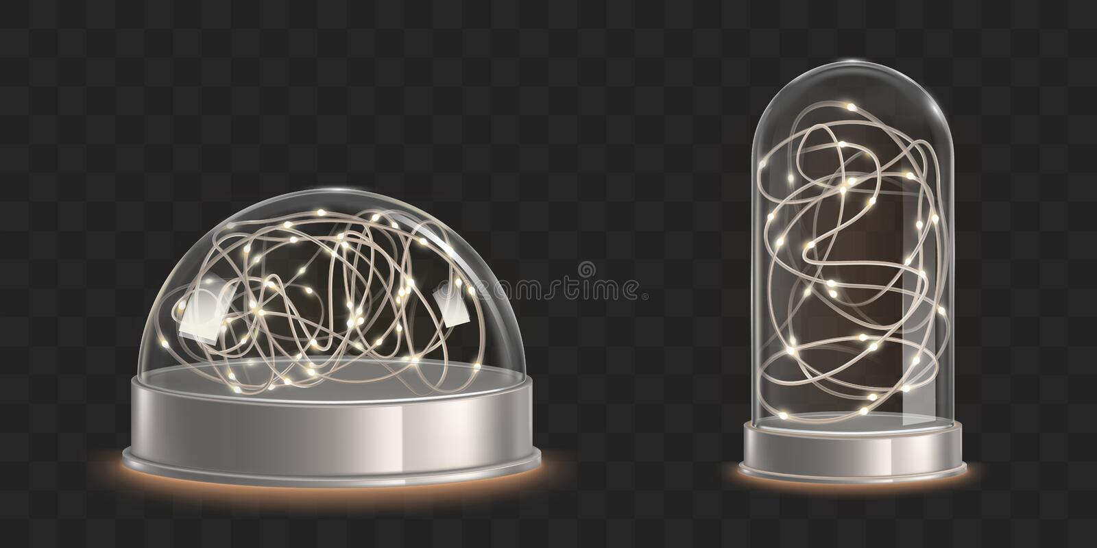 Glass domes with light garland. Christmas souvenir royalty free illustration